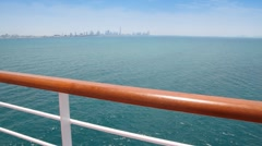 View from deck on sea and city Stock Footage