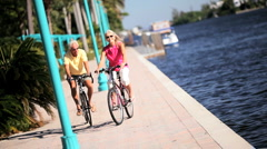 Active Cycling Seniors Stock Footage