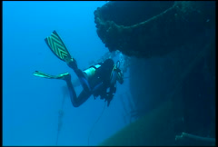 Diver on ship wreck underwater diving video Stock Footage