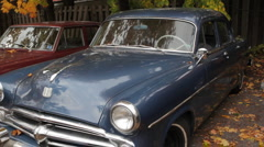 Old blue car. Stock Footage