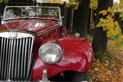 Old red convertible. SD. Stock Footage