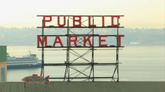 Pike Place Market Sign with Ferry Stock Footage