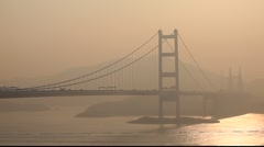 Tsing Ma Bridge in Hong Kong Stock Footage