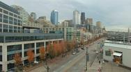 Downtown Seattle Alaskan Way Stock Footage