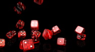 Stock Video Footage of Falling Dices Slow Motion - Casino 13 (HD)