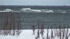 Snowy coastline - stock footage