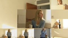 CGI Computer animation of female moving house Stock Footage