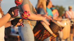 Playing Maracas and Congas at a Drumming Circle on the Beach Stock Footage