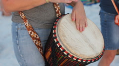 Woman Drummer at the Beach Stock Footage