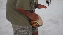 Drummer at the beach Stock Footage
