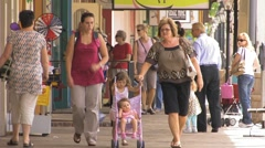 Old town Shoppers Stock Footage
