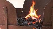 Hoat Burning Flaming Coals Stock Footage