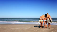 Beach Girls With Surfboards Stock Footage