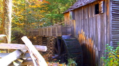 Historic grist mill with water wheel 02 Stock Footage