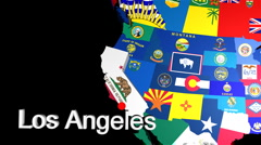 3D USA Map with state flags zoom to LA Stock Footage