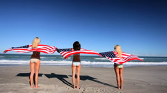 Girls in Stars & Stripes Stock Footage