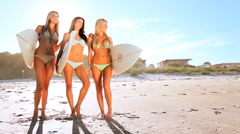 Surfer Girls Healthy Lifestyle Stock Footage