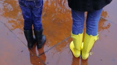 Girls Walk in Rain - stock footage