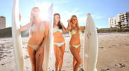 Beautiful Models With Surfboards Stock Footage
