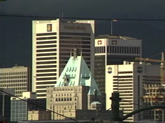 Archival, 1990 Vancouver skyline, zoom and zoom Stock Footage