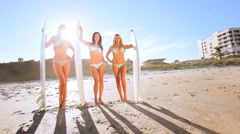 Girls Modeling Surfboards Stock Footage