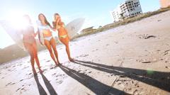 Girl Surfing Buddies Stock Footage
