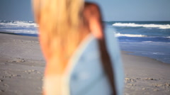 Surf Girl Healthy Lifestyle Stock Footage