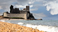 The old Fort and a Monastery on the sea Stock Footage