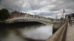 Ha Penny Bridge, Dublin, Ireland Stock Footage