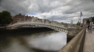 Stock Video Footage of Ha Penny Bridge, Dublin, Ireland
