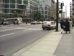 Archival, 1990 Vancouver downtown traffic Stock Footage