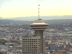 Archival, 1990 Vancouver Harbour centre tower zoom Stock Footage