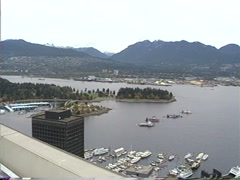 1990 archival, Vancouver harbour to skyline pan and back Stock Footage
