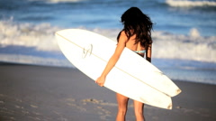 Surf Girls Healthy Lifestyle Stock Footage