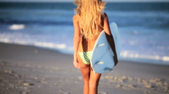 Beach Girl With Surfboard Stock Footage