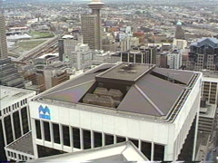 1990 archival, Vancouver zoom to rooftop HVAC Stock Footage