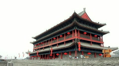 tower of Xian City Wall  - stock footage