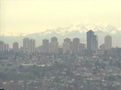 Archival, 1990 Burnaby skyline (Vancouver) Stock Footage
