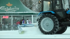 Wheeled tractor drift on the ice Stock Footage