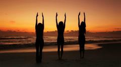 Yoga Exercises at Sunrise Stock Footage