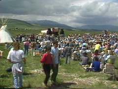 Politics and protest, archival, 1989 Oldman Dam protest crowds Stock Footage