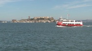 Stock Video Footage of Ferry in front of Alcatraz, San Francisco, United States