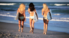 Surf Girls Waiting for Waves - stock footage