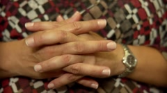 Woman's' worried hands. Stock Footage