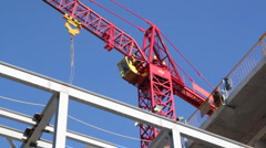 Red tower crane. Medium. Stock Footage