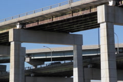 Multi-level highway with reflections. SD. - stock footage