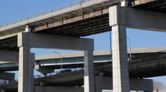 Multi-level highway with reflections. - stock footage