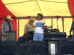 Politics and protest, 1989 Oldman Dam protest David Suzuki speach 9 Stock Footage