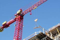 Red crane at work. SD. Stock Footage