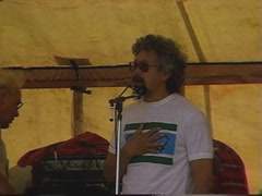 Politics and protest, 1989 Oldman Dam protest David Suzuki speech 9b Stock Footage
